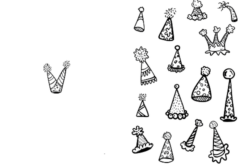 Party Hat Card - Color Your Own!