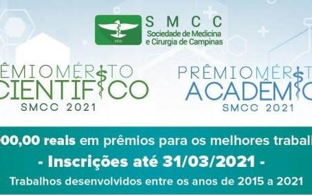 Inscreva seu trabalho nos prêmicos científicos - Edição 2021 da SMCC