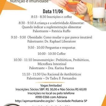 11/06: Simpósio sobre Nutrição e Imunidade em Santo André