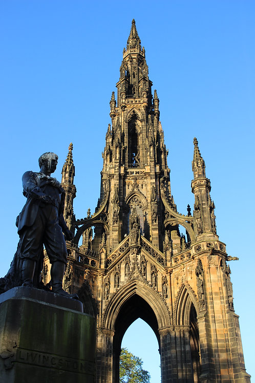 David Livingstone and Scott Monument at Sunrise, Edinburgh