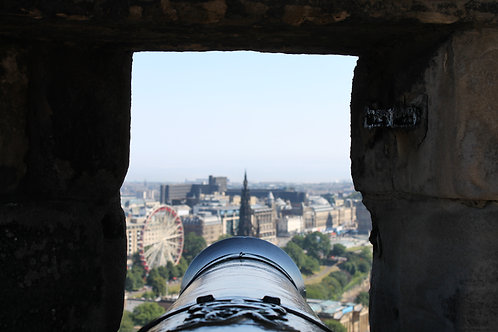 Cannon looking over Prince's Street from Edinburgh Castle