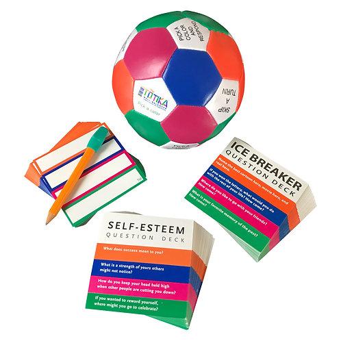 Totika Thumball & Self-Esteem, Icebreaker & Blank (Pencil Erasable) Card Deck