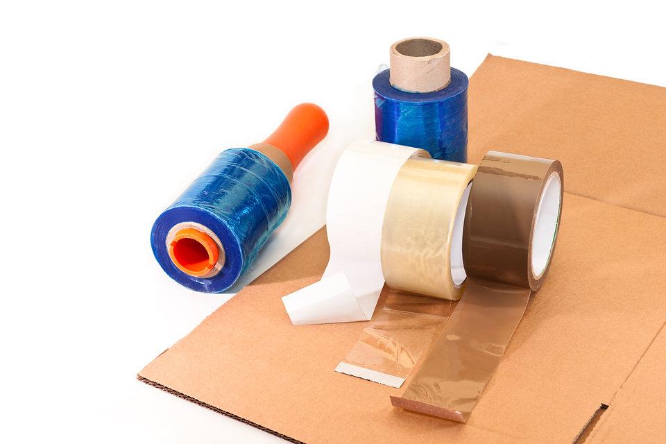 Tapes, pallet wrap, bubble wrap. adhesives.