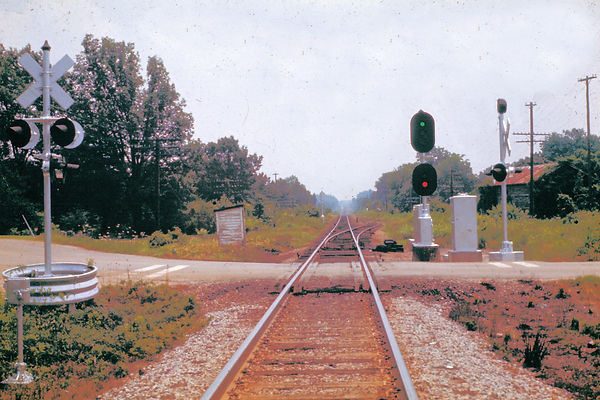 railroad grade crossing at Wise, NC circa 1970. Image by CR Britting (c) 2018