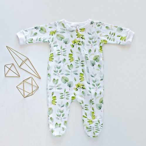 Green Onesie with Zip by BABA FISHEES
