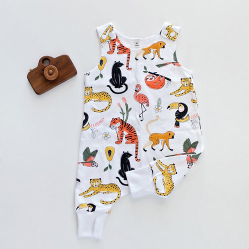 Sleeveless Animal World Romper by BABA FISHEES