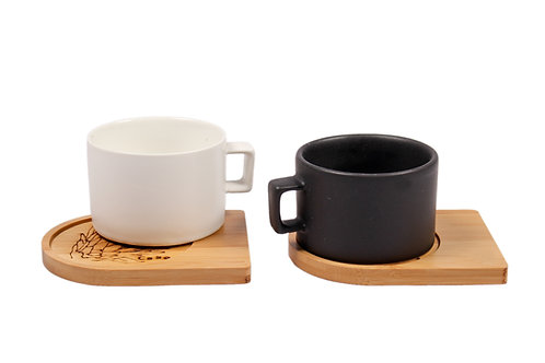 Mug with bamboo saucer by CABO