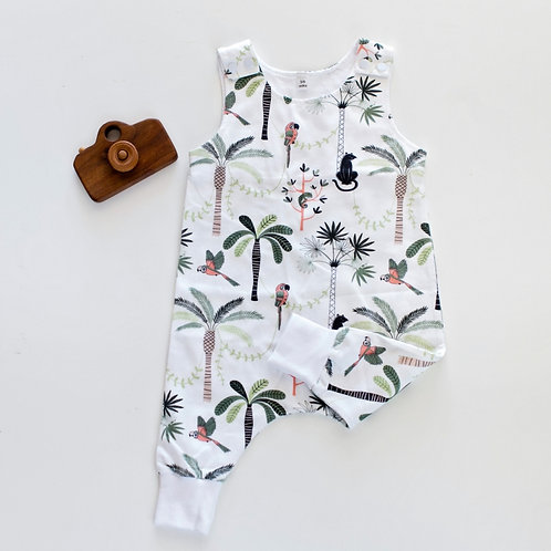 Sleeveless Palm Tree Romper by BABA FISHEES