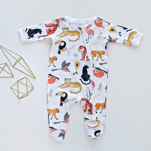 Animal World Onesie with Zip by BABA FISHEES
