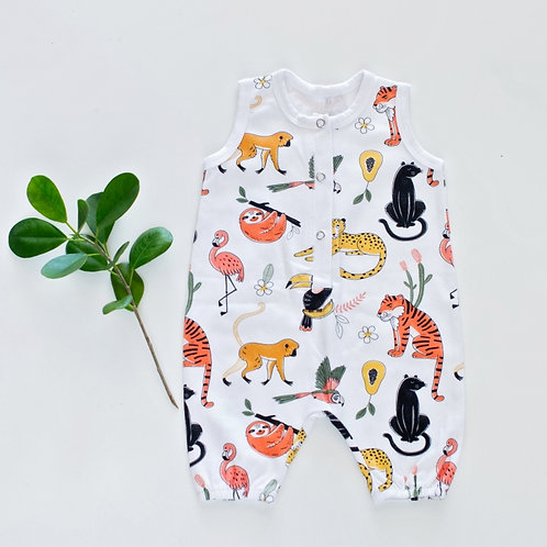Sleeveless Animal World Henley Romper by BABA FISHEES