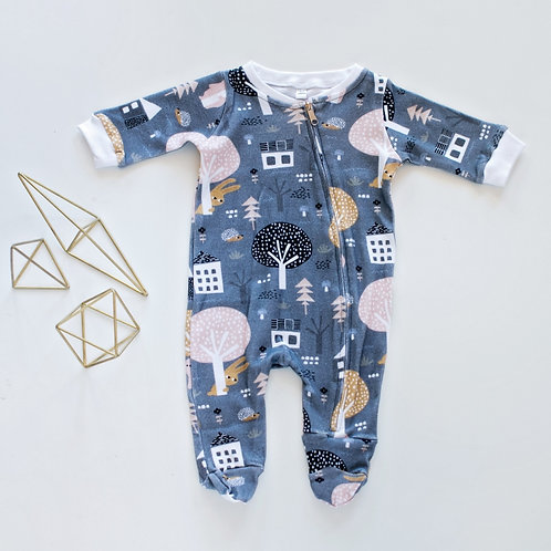 Grey Onesie with Zip by BABA FISHEES