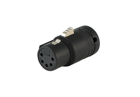 Low-Profile Right Angle XLR 5-pin Female, A-Shell