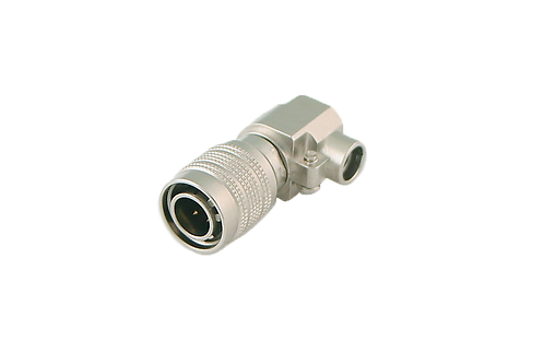 4-pin Male Right Angle DC connector, Push-pull, Cable mount