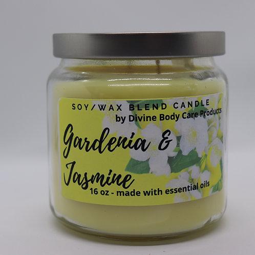 Gardenia and Jasmine candle 16 Oz