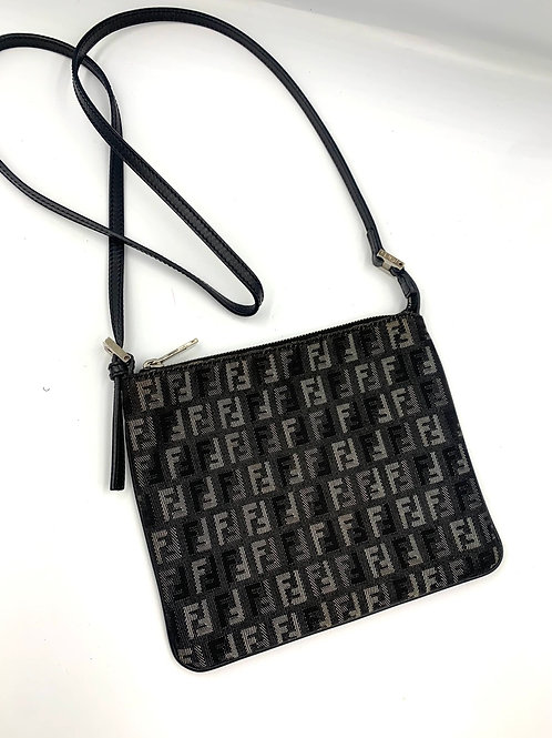 Fendi dark grey monogram crossbody bag