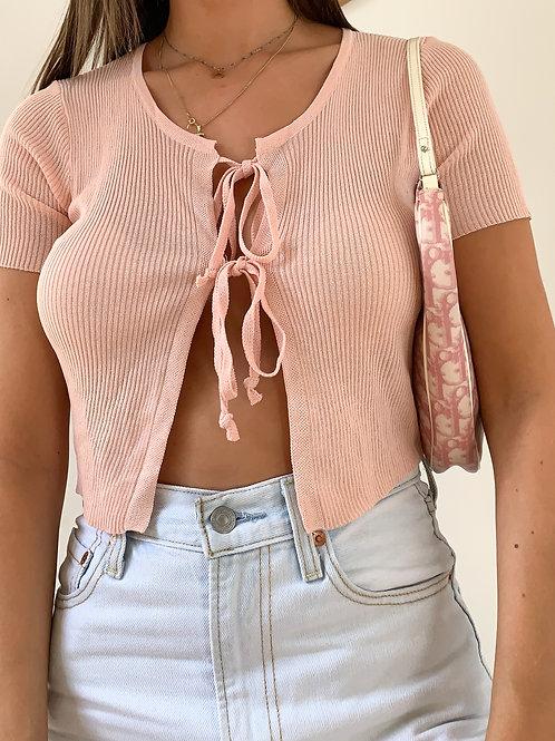 Front tie crop top - blush
