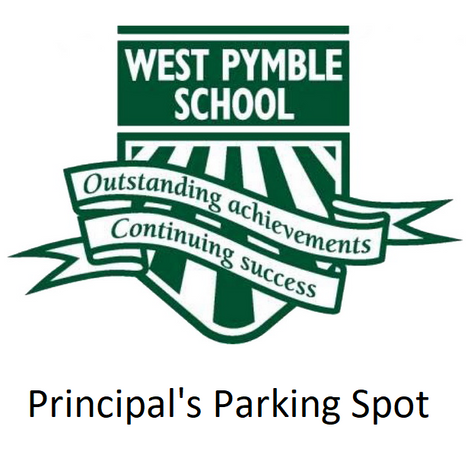 Win the Principal's Parking Spot for the whole of Term 3!!  This is the PREMIUM spot for car parking at the school. Bid for this amazing spot - useful in case it rains, you are running late, or just don't feel like walking far for drop off!