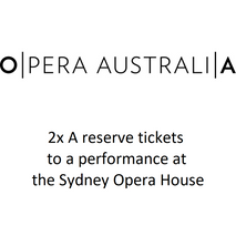 2 x A reserve tickets to a performance at the Sydney Opera House during the 2019 Sydney Opera Season.    Donated by Rachel Favell, this is a fantastic opportunity to sit in the best seats and enjoy opera in such an iconic location.
