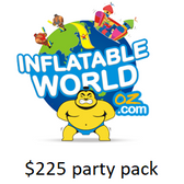Inflatable World Party Pack  A $225 inflatable world party voucher and one guest pass - to ensure that your child and their friends have the birthday celebration to remember!
