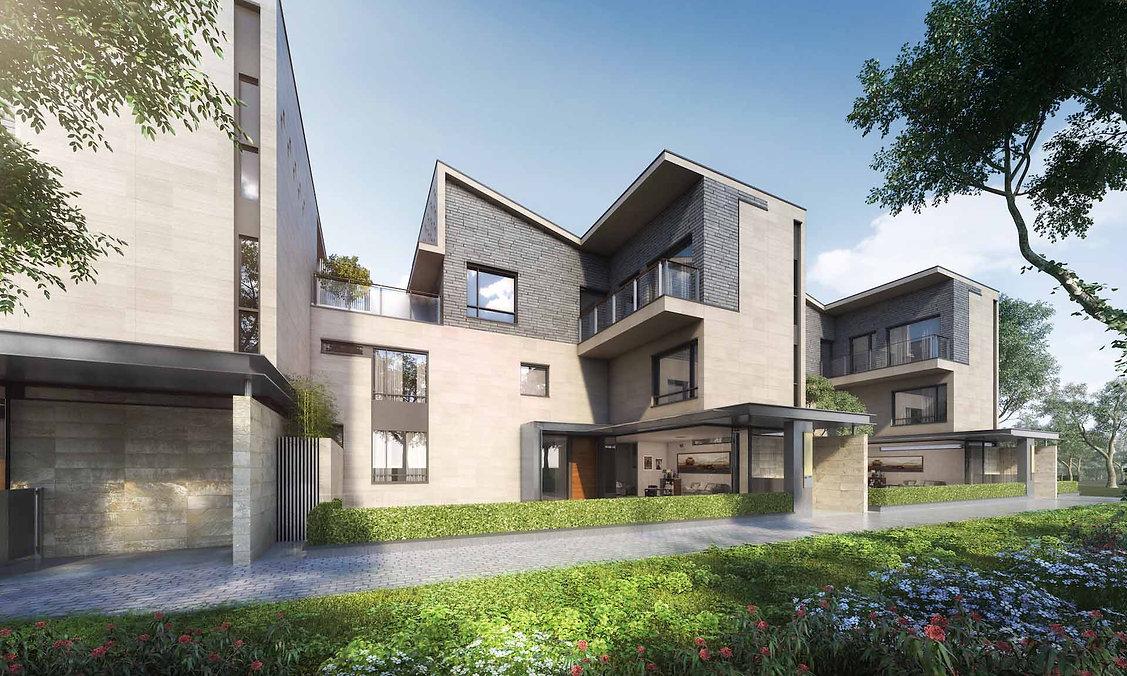Year of Design: 2016Status: DesignGFA : 82,000sq.m 隨著南沙疊翠峰二期的順利開發,三期將增加産品的多樣性,提供兩款Design和戶型不同的聯排別墅及不同的高層住宅。高層住宅延續二期的風格和主題。別墅則承接南沙新區的現代主義精神,及嶺南海濱亞熱帶的氣侯環境,南北通透,善用遮陽格柵,室內外空間以全扇推拉門分隔,客廳空間通過風雨廊與花園結合為一。