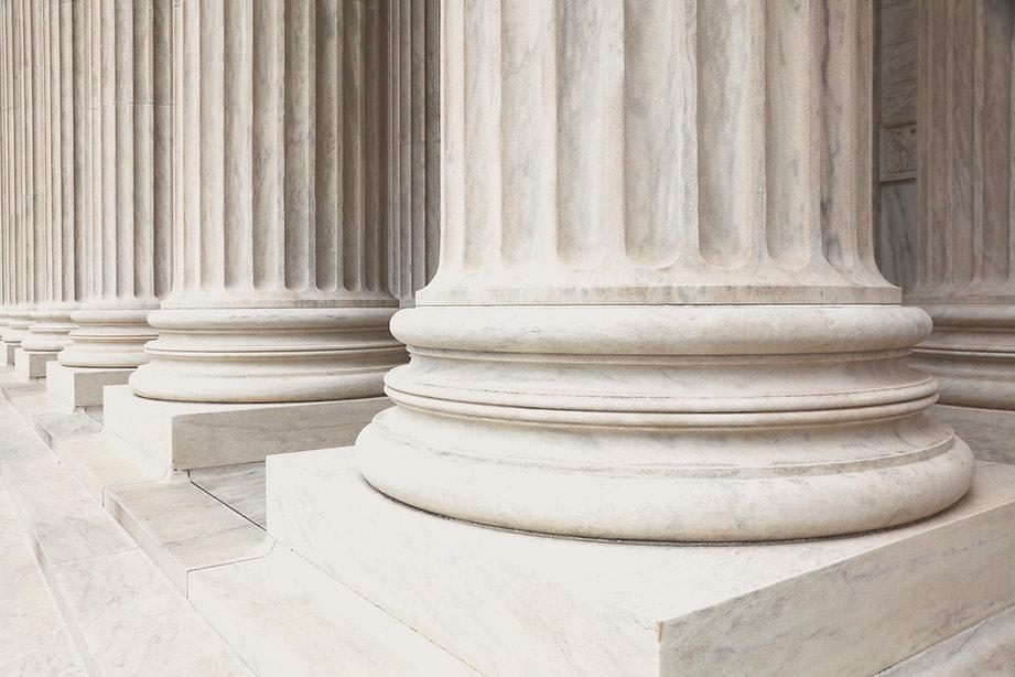 Three columns outside United States Supreme Court building
