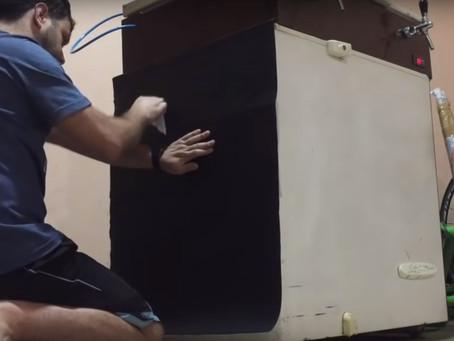 Como envelopar uma geladeira ou freezer Projeto Keezer Segundo passo - envelopamento