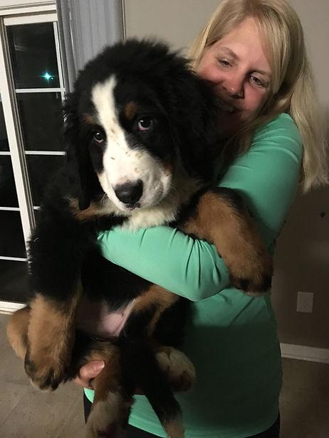 Sharon Carmichael and bernese mountain dog