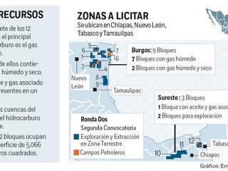 Se licitan 39 campos de aceite y gas en segunda fase de Ronda Dos