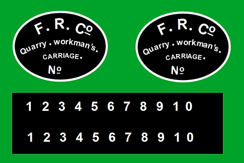 Ffestiniog Type 2 Quarryman's Coach Decals £6.00 per set
