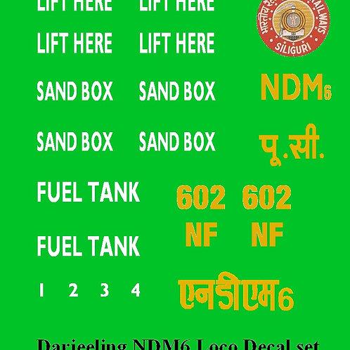 Darjeeling NDM6 loco Decal Set