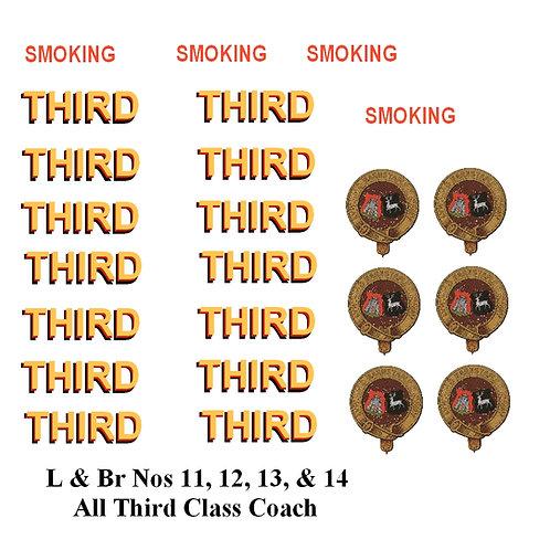 L & Br Nos 11, 12, 13, & 14 All Third Class Coach