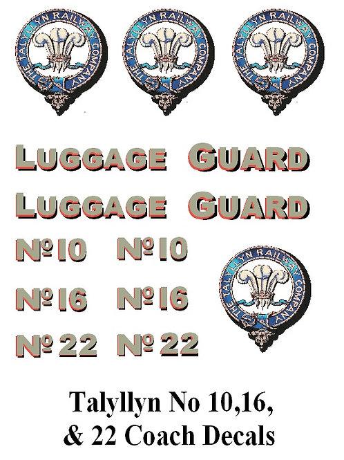 Talyllyn No 10,16 & 22Decals £6.00