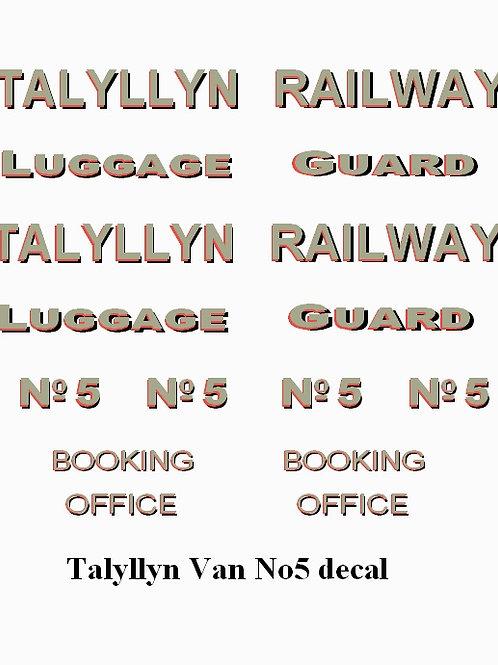 Talyllyn Van No 5Decals £6.00