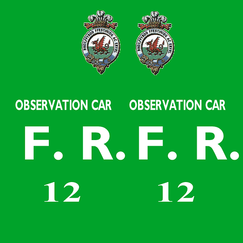Ffestiniog No 12 Observation Bug Box Coach Decals £6.00 per set