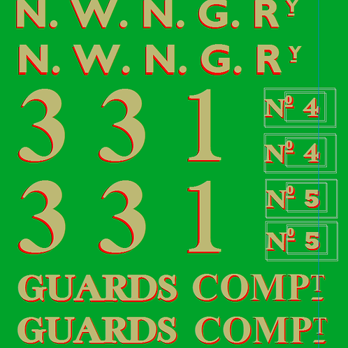 NWNGR No 4 & 5  Pickering Brake Comp Coach Colour Decals £6.00 per set