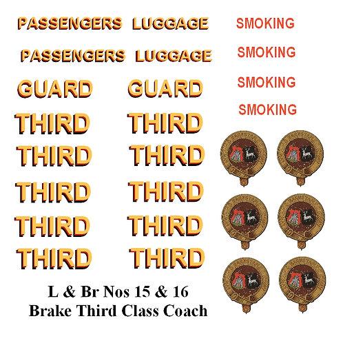 L & Br Nos 15 & 16 Brake Third Class Coach