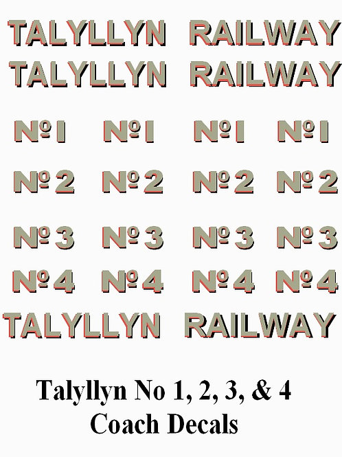 Talyllyn No 1, 2, 3 & 4 Decals £6.00
