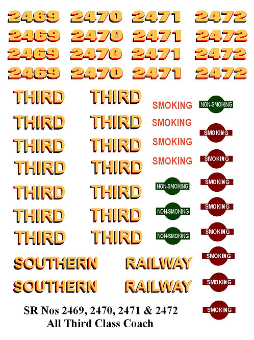 SR Nos 2469, 2470, 2471 & 2472 All Third Class Coach