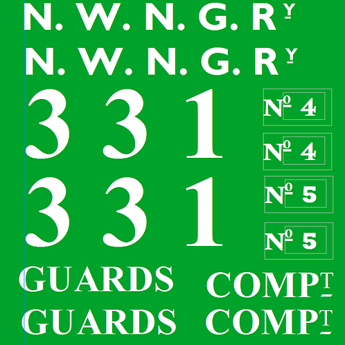 NWNGR No 4 & 5  Pickering Brake Comp Coach Decals £6.00 per set