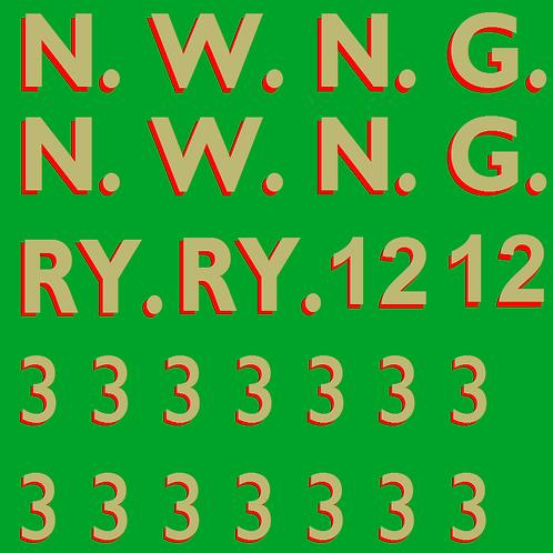 NWNGR No 12 Semi Glazed Summer Coach Colour Decals £6.00 per set