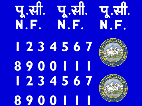 Darjeeling 3rd Generation Blue Bogie Coach Decal  Set (All Coaches) £5.00 per se