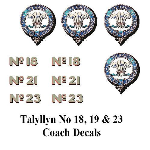 Talyllyn No 18, 21& 22 Decals £6.00