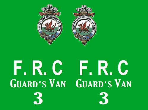 Ffestiniog No 3 Sentry Guards Van  Decals £6.00 per set