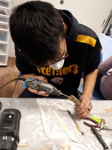 Carving bone knife handles