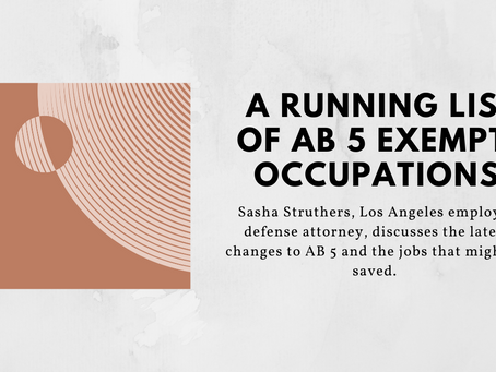 A Running List of AB5 Exempt Occupations