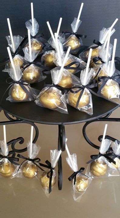 Gold and black cake pops