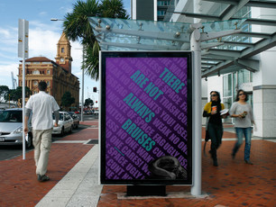 This poster was created to be a PSA for domestic abuse. The colors used are from the domestic and sexual violence ribbon, and a web address, loveisrespct.org, is included that provides resources for victims of domestic abuse.