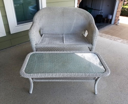 Wicker Bench & Table 2