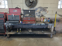 8 ft Shop Table with Vise & Tool Boxes