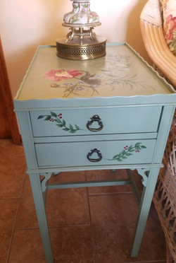 Hand Painted Side Table w Drawer 2